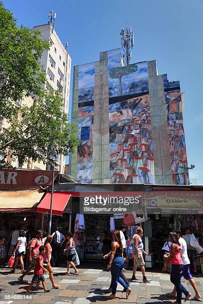 Scene the street Rua de Buenos Aires, district Centro, center of Rio de Janeiro, Brazil.