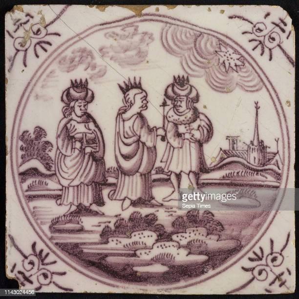 Scene tile three kings in landscape corner motif ox's head wall tile tile sculpture ceramic earthenware glaze baked 2x glazed painted Yellow shard...
