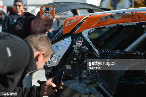 A scene with damaged Ford Fiesta R5 crashed by Alexey Lukyanuk and Alexey Arnautov from Russian Performance Motorsport Team on Day Two of the PZM...