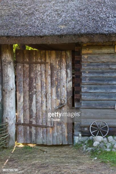 Scenery in the village wooden barn door