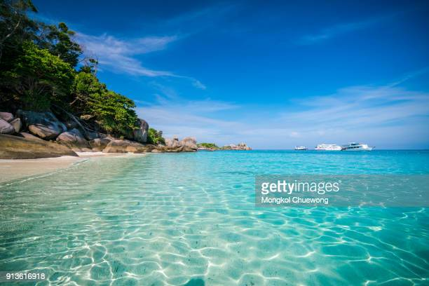 scenery of beautiful tropical beach on similan islands in andaman sea at phang nga near krabi and phuket southern of thailand. - phuket province stock pictures, royalty-free photos & images