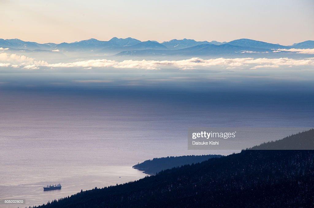 Scenery of Salish Sea and Vancouver Island : Stock Photo