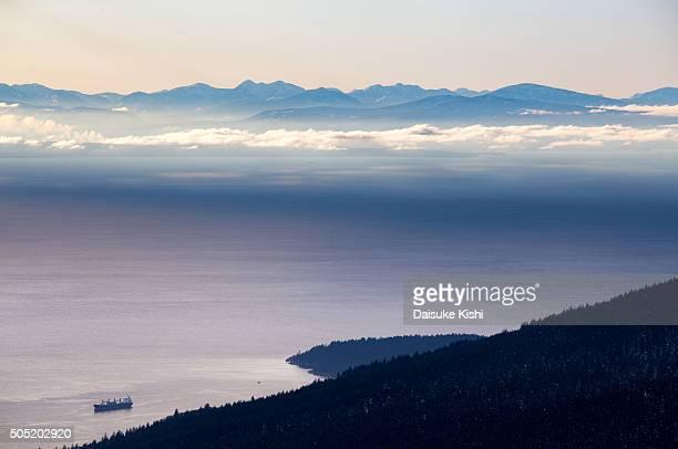 Scenery of Salish Sea and Vancouver Island