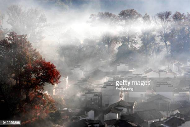 scenery of shicheng in autumn, wuyuan - jiangxi province stock photos and pictures