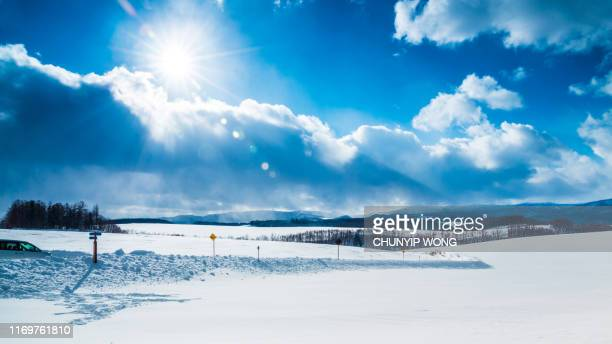 scenery of snowy mountains - snowfield stock pictures, royalty-free photos & images