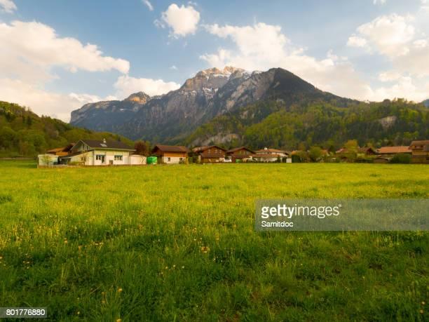 Scenery of Wilderswil village in the morning, Interlaken Switzerland.