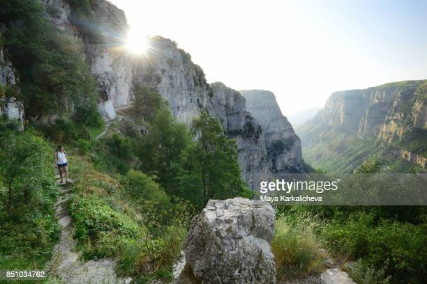 scenery path along vikos gorge, tymfi mountain, zagoria / epirus, greece - epirus greece stock pictures, royalty-free photos & images