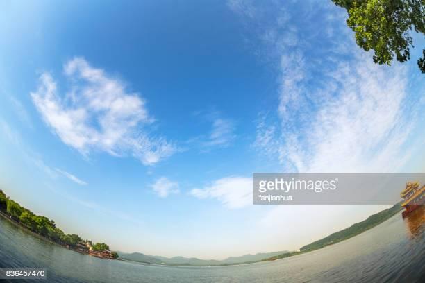 scenery view of hangzhou west lake in china - fish eye foto e immagini stock