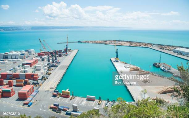 scenery view of napier port in hawke's bay region of new zealand. - harbour stock pictures, royalty-free photos & images