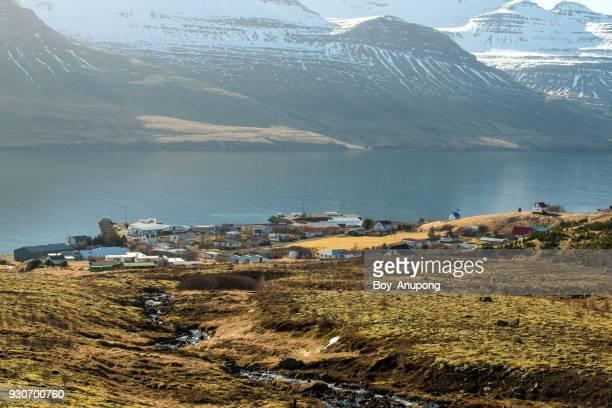 Scenery view of Stöðvarfjörður town in east fjord of Iceland.