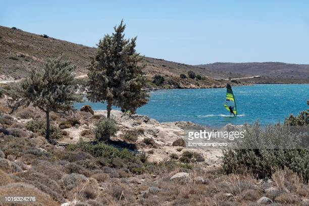 scenery with wind surfer and juniper trees at alacati bay. - emreturanphoto stock pictures, royalty-free photos & images