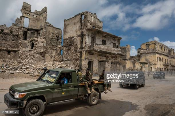 Scenes along the Mogadishu foreshore, destroyed by civil war beginning in the nineteen eighties. These buildings and many others along the foreshore...