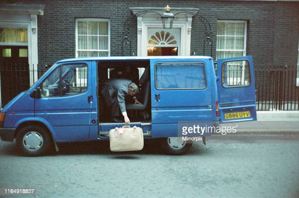 Scenes at 10 Downing Street amid the Conservative Party leadership battle Suitcases going into number 10 21st November 1990