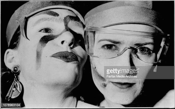 Scenes at the Beginning of the *1992 Gay and Lesbian Mardi Gras.Lilly and Cheryl show off their make up jobs. February 29, 1992. .