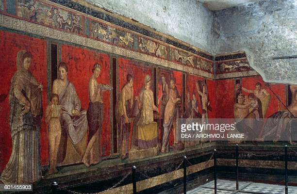 Scenes depicting the rites of initiation to the Dionysiac mysteries Triclinium of the Villa of the Mysteries Pompeii Campania Italy Roman...
