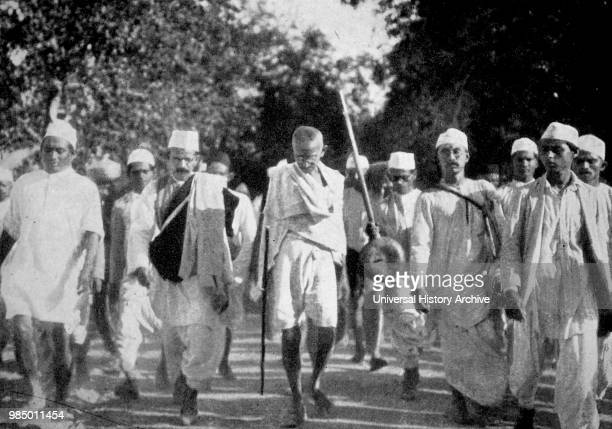 Scenes during Mahatma GandhiÕs famous Salt March This march on foot to the sea coast at Dandi on the eve of the Salt Satyagraha 1930 This peaceful...