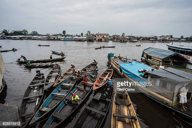 Scenes from a riverside market in Iquitos Peru on the Amazon River in January 2016