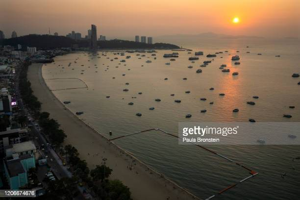 Scenes from above showing a quiet Pattaya beach normally packed with tourists in Pattaya Thailand on March 11 2020 Thailand depends on tourism...