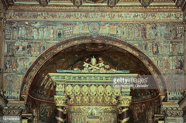 Scenes from Christ's first coming and Jesus' Infancy mosaic from the triumphal arch of the Basilica of Santa Maria Maggiore Rome Italy 5th century