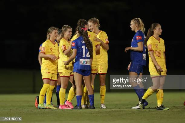 Scenes from post-match during the round 10 W-League match between the Newcastle Jets and Adelaide United on February 26 in Newcastle, Australia.