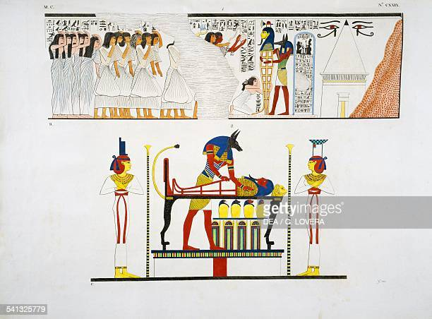Scenes from Roy's funeral from a Theban tomb Plate CXXIX from The monuments of Egypt and Nubia civil monuments 18321844 by Ippolito Rosellini