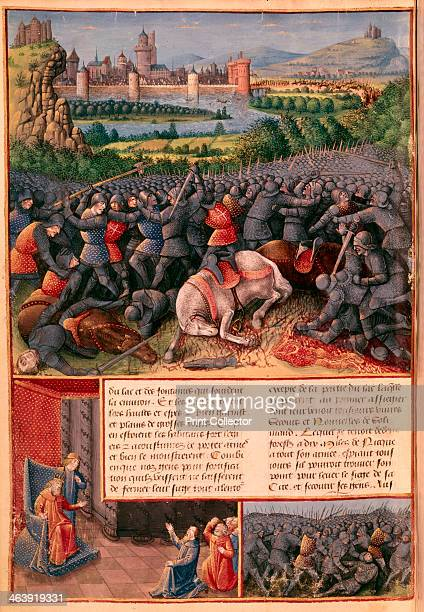 Scenes from the First Crusade, 1096-1099 . In the foreground of the main image, mounted knights unhorsed and killed in a melee of hand-to-hand...