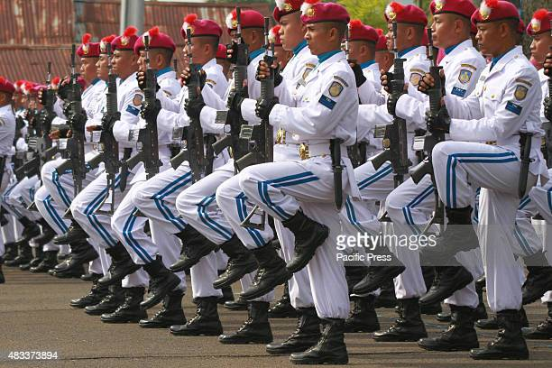 Scenes from the inauguration of the Indonesian Navy's Main Base in Pontianak, West Kalimantan. Indonesian marine soldiers celebrate in a military...