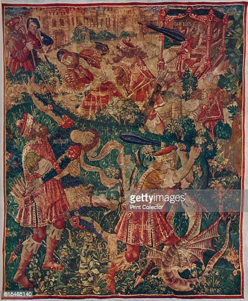 Scenes from the life of Hercules: Tapestry Woven by Joos of Audenarde, c1498 . After a design by Pierre Peret of Tournai. From The Connoisseur Vol....