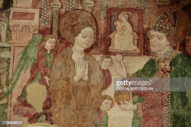 Scenes from the life of Saint Mary Magdalene, fresco inside the church of St Magdalena, Gschnitz, Tyrol, Austria, 15th century, detail.