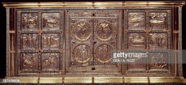 Scenes from the life of St Ambrose Golden altar or Frontal 824860 embossed gold work by Vuolvino or Volvino Basilica of Sant'Ambrogio Milan Italy 9th...