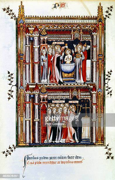 Scenes from the life of St Denis patron saint of France 3rd century St Denis consecrates a church in Paris and baptises new Christians St Denis also...