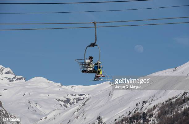 Scenes from the popular French ski resort on April 07 2017 in Val D'Isere France With new tele cabinet avalanche dogs on standby for skiers safety...