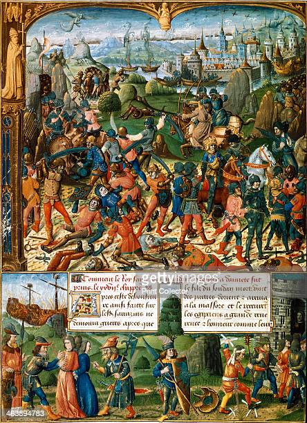 Scenes from the Seventh Crusade 12481254 Top Louis IX known as St Louis King of France from 1226 and the crusaders after being defeated by the...