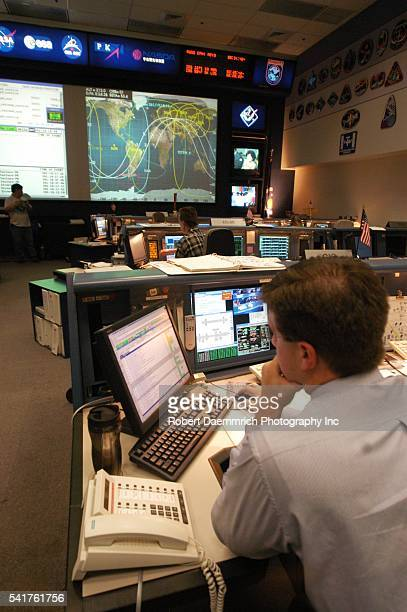 Scenes in the active Mission Control Center where flight controllers monitor the International Space Station NASA held handson demonstration...