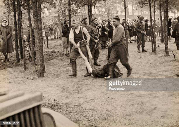 Scenes inside Belsen Concentration camp after it was liberated by British troops 15th April 1945 The Royal Army Medical Corps number 11 Light Field...