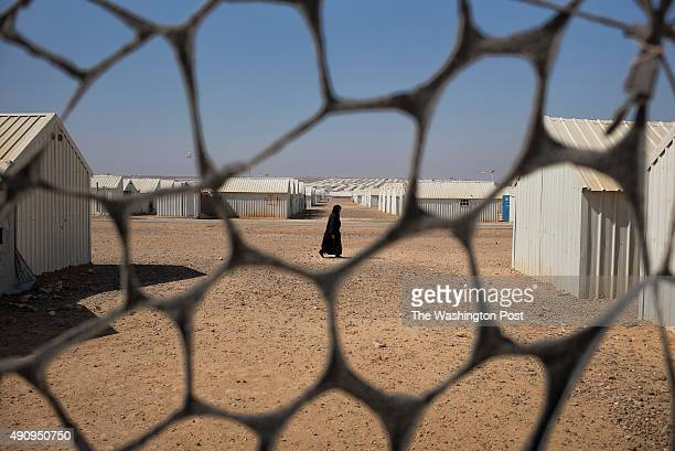 Scenes inside the AlAzraq camp for Syrian refugees on July 11 2015 in Azraq Jordan The camp some 100 kilometres east of Amman which opened a little...