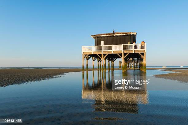 Scenes of Arcachon beach house on stilts in the beach side resort town in France on June 20th 2018