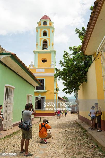 Scenes of Colonial Trinidad in Cuba a Unesco world heritage site featuring the museum of the fight against bandits or lucha contra bandidos