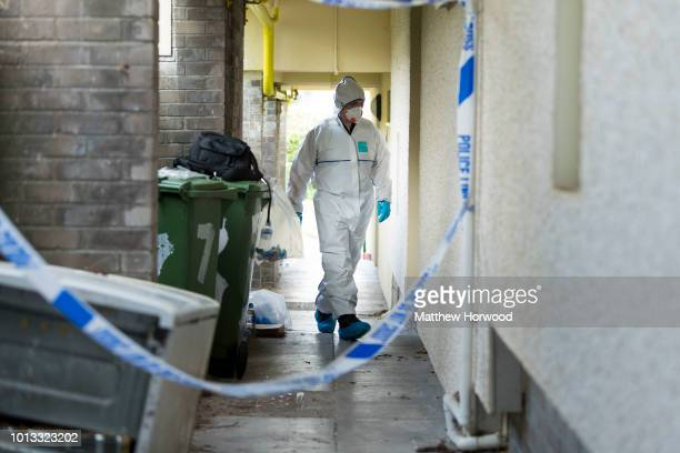 A scenes of crime officer at the scene on Long Row where child killer David Gaut was found dead on August 8 2018 in New Tredegar Wales Police have...