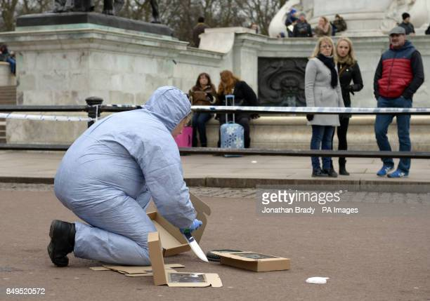 A scenes of crime officer documents evidence from the scene between the Queen Victoria Memorial and Buckingham Palace where Police subdued a suspect...
