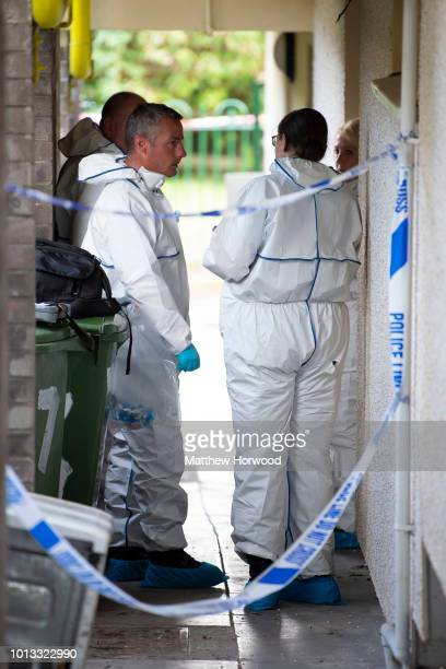 Scenes of crime officers at the scene on Long Row where child killer David Gaut was found dead on August 8 2018 in New Tredegar Wales Police have...