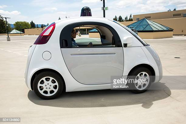 Scenes of daily life at Google X in Mountain View, California. A new Google self driving car is demonstrated for the media, elderly and legally blind...