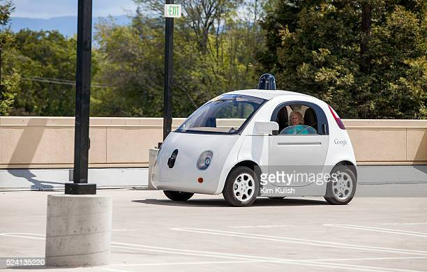 Scenes of daily life at Google X in Mountain View California A new Google self driving car is demonstrated for the media elderly and legally blind...