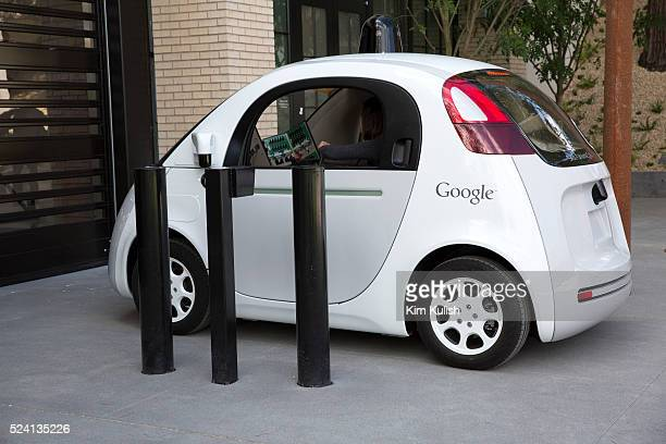 Scenes of daily life at Google X in Mountain View, California. A new Google self driving car enters the Google X Headquarters garage.