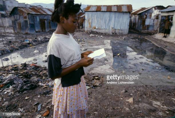 Scenes of daily life in Haiti's capital during a time of an international embargo because of a military coup July 1994 in PortauPrince Haiti