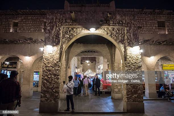 Scenes of daily life in the popular Souq Waqif on May 6 2016 in Doha Qatar Souq Waqif is built in the traditional Arabic style