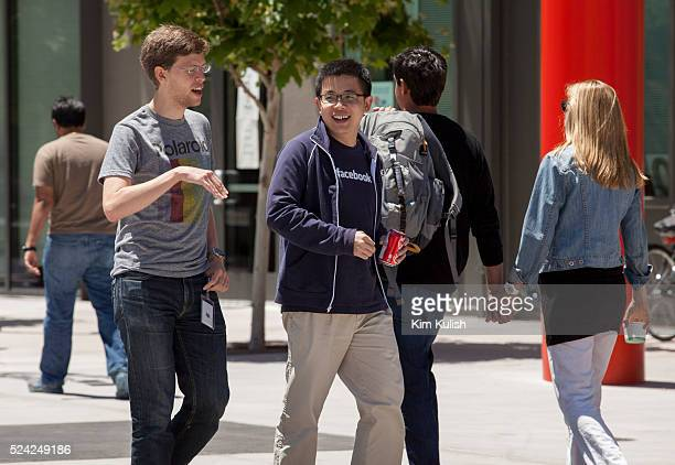 Scenes of daily work and life at Facebook Inc USA Headquarters in Menlo Park California Facebook employees and visitors walk through 'Hacker Square'
