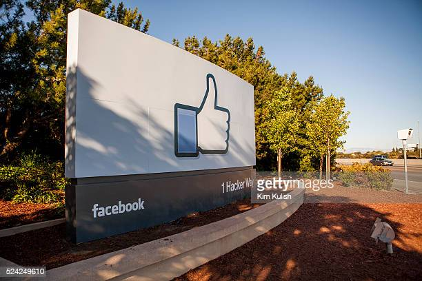 Scenes of daily work and life at Facebook Inc USA Headquarters in Menlo Park California The Like Facebook sign located at the entrance to the...