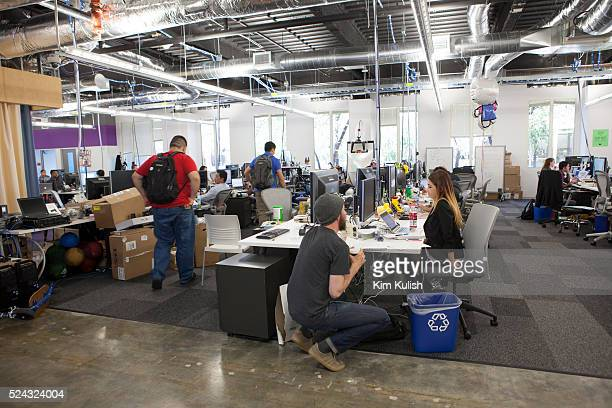 Scenes of daily work and life at Facebook Inc USA Headquarters in Menlo Park California View of one of the workspaces on campus