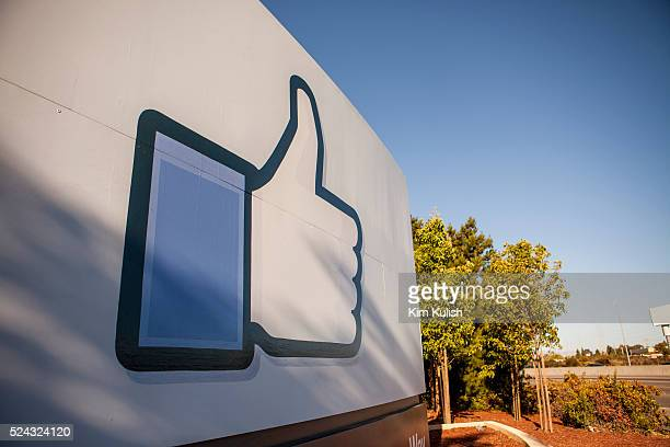 """Scenes of daily work and life at Facebook Inc. USA Headquarters in Menlo Park, California. The """"Like"""" Facebook sign located at the entrance to the..."""